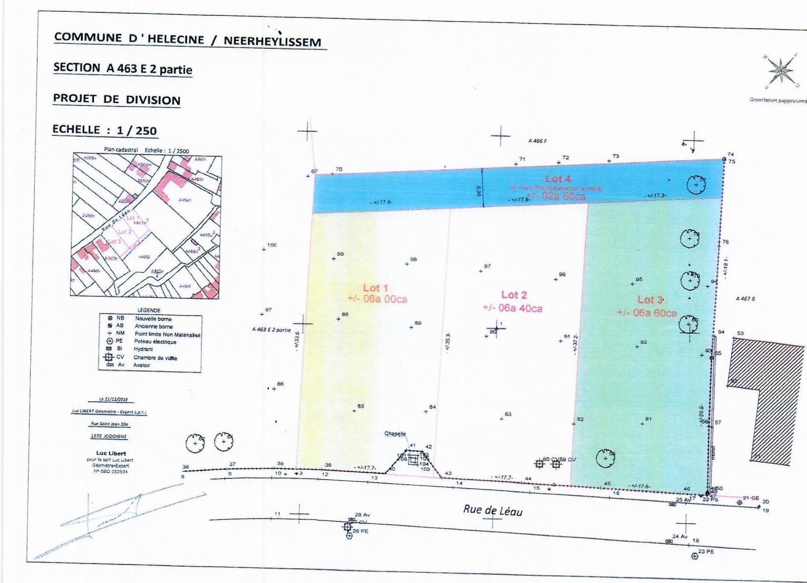 Hélécine : 3 loten bouwgrond ± 6 are te koop