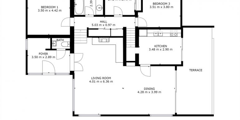 Plattegrond beneden en tussenverdieping